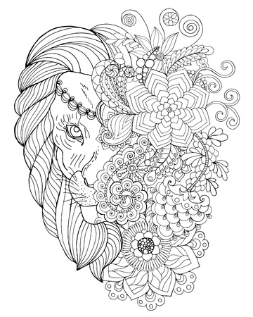 Lion. Black white hand drawn doodle animal. Ethnic patterned vector illustration. African, indian, totem, tribal,  design. Sketch for coloring page, tattoo, poster, print, t-shirt Ilustrace