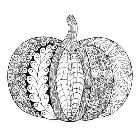 Zentangle stylized pumpkin. Black white hand drawn vector illustration. Traditional symbol of Thanksgiving, Halloween, autumn. Sketch for colouring page, decoration, poster, print