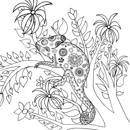 totem indien: caméléon mignon dans la forêt fantastique. Animaux. Tiré par la main doodle. Ethnique illustration à motifs. Africaine, indien, conception de tatoo totem. Dessinez pour avatar, tatouage, affiche, impression ou t-shirt.