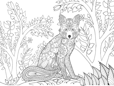 forest animals: Zentangle stylized fox in fantasy forest. Animals. Hand drawn doodle. Ethnic patterned illustration. African, indian, totem tatoo design. Sketch for avatar, tattoo, poster, print or t-shirt. Illustration