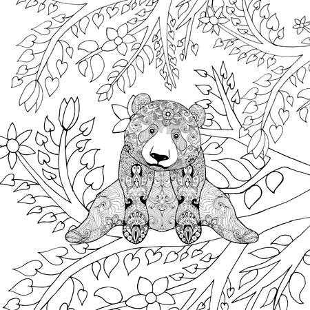 oso negro: El oso de panda lindo en ramas de los árboles. Negro mano blanca dibujada animales del doodle. ilustración vectorial estampado étnico. Africano,, tótem, diseño tribal, zentangle indio. Boceto de página para colorear, tatuajes de impresión de carteles, camiseta
