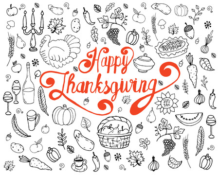 Set Of Traditional Thanksgiving Symbols Hand Drawn Cartoon Doodles