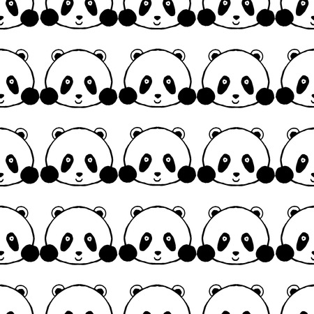 bombing: Panda seamless pattern. Hand drawn black white vector illustration. Sketch for decoration, cards, posters, t-shirts.