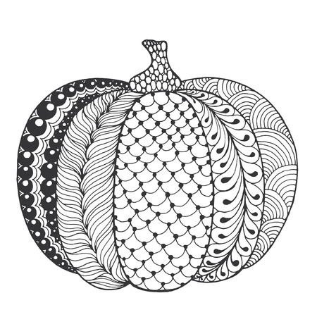autumn colouring: Zentangle stylized pumpkin. Black white hand drawn vector illustration. Traditional symbol of Thanksgiving, Halloween, autumn. Sketch for colouring page, decoration, poster, print