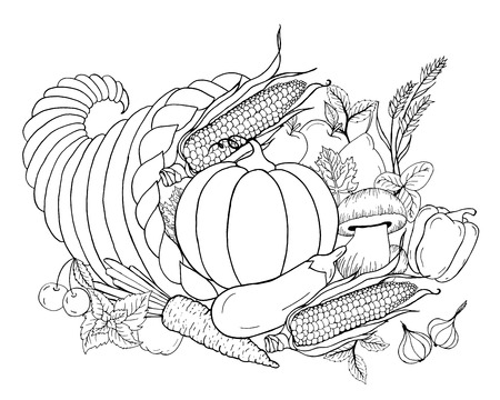 Thanksgiving cornucopia with vegetables. Horn of plenty. Black white hand drawn vector illustration. Traditional symbol of Thanksgiving, autumn. Sketch for coloring page, decoration, card, poster