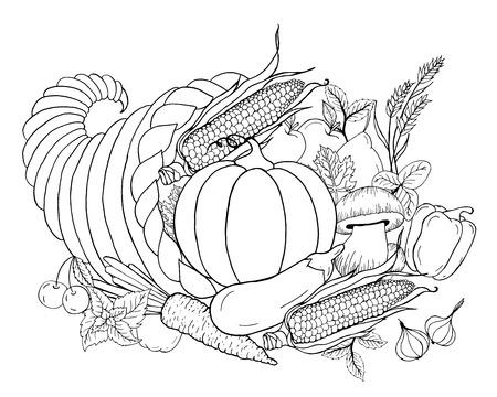 Thanksgiving hoorn des overvloeds met groenten. Hoorn des overvloeds. Zwart wit hand getrokken vector illustratie. Traditioneel symbool van Thanksgiving, de herfst. Schets voor kleurplaat, decoratie, kaart, poster Stock Illustratie