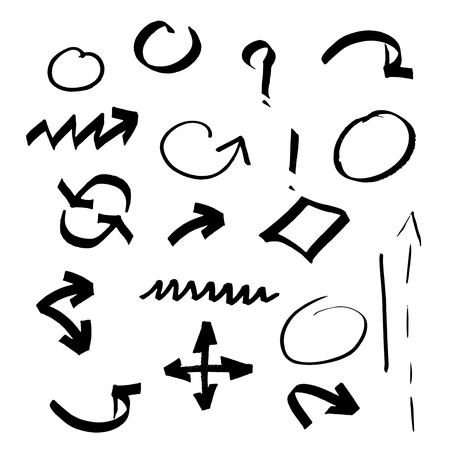 ollection: ?ollection of black sketch symbols. Hand drawn arrow, circle, dots set on white background