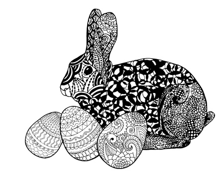 animal ear: Easter bunny rabbit coloring page Illustration
