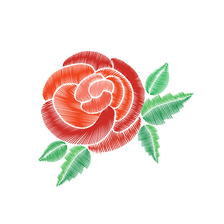 flower leaf: Red roses with green leaf embroidery on white background.