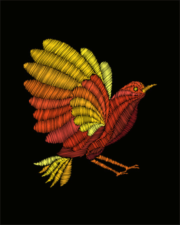 Fantasy bird embroidery. Vector fashion embroidered ornament on black background for fabric traditional textile decoration