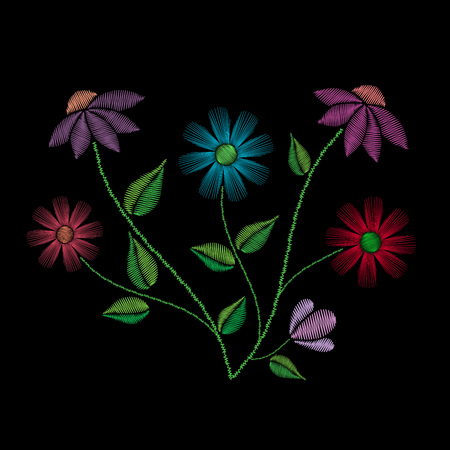 assortment: Embroidery stitches with flowers and leaves. Vector fashion ornament on black background for traditional floral decoration.