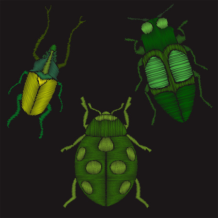 Insects set embroidery imitation Illustration