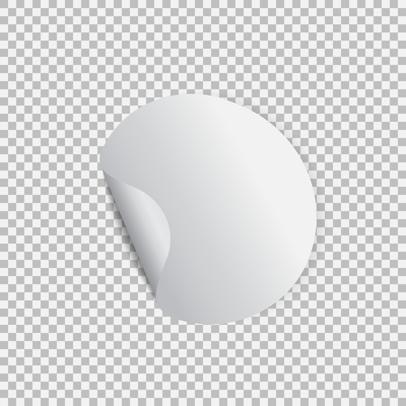 Round sticker with peel off corner on a transparent background Vectores