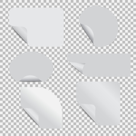 Set of stickers with peel off corner on a transparent background