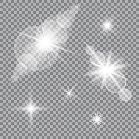 Set of glare lighting, twinkle lens flares on transparent background.
