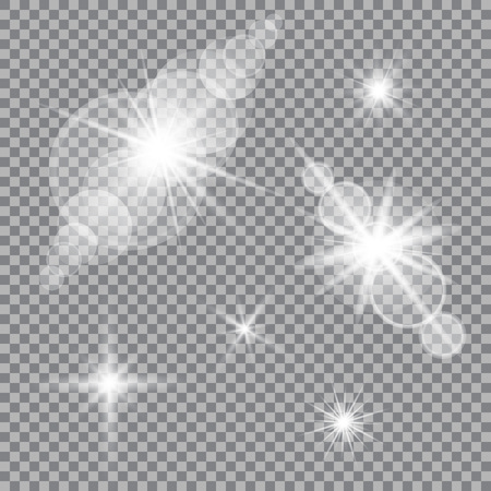 Set of glare lighting, twinkle lens flares on transparent background.
