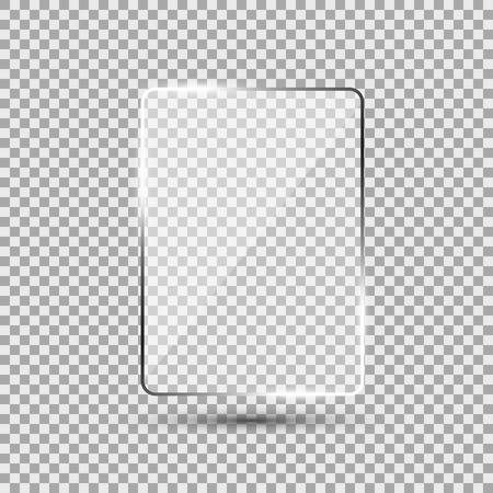Glass plate on transparent background. Vektorové ilustrace