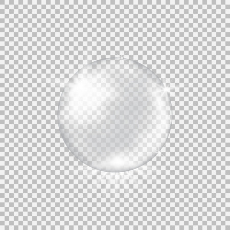Transparent glass sphere with glares and highlights. Vectores