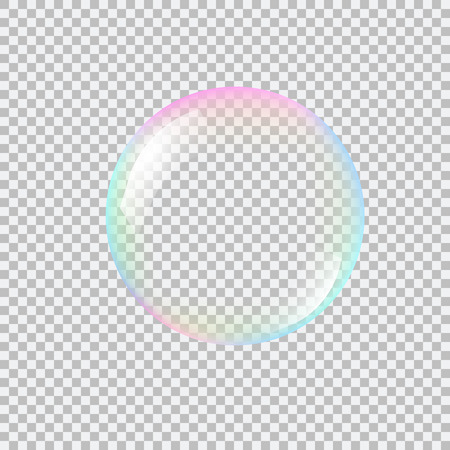 Realistic soap bubble with rainbow reflection