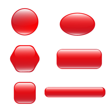 Set of red square and rounded button.