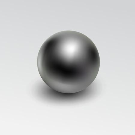 Chrome metal ball realistic isolated on white background.