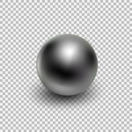 Chrome metal ball realistic isolated on transparent background.