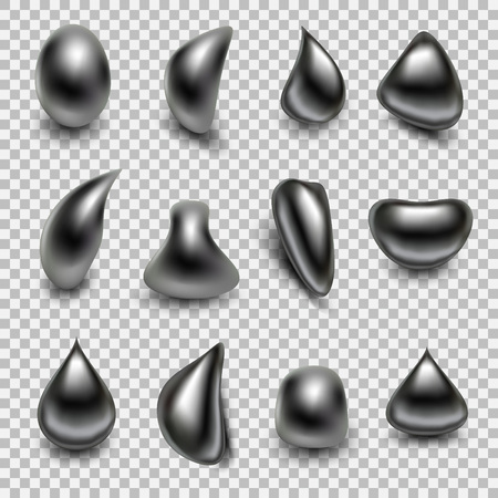 Metal droplet set realistic isolated on transparent background.