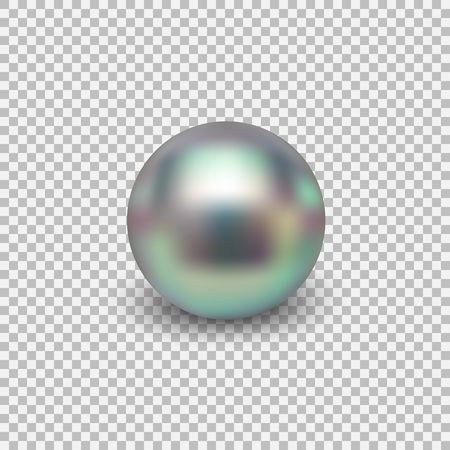 Beautiful shiny sea pearl. Spherical beautiful 3D orb with transparent glares and highlights. Jewelry gemstones. Isolated vector illustration on transparent background. Stock Photo