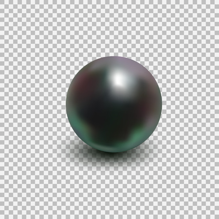 Beautiful black shiny sea pearl. Spherical beautiful 3D orb with transparent glares and highlights. Jewelry gemstones. Isolated vector illustration on transparent background.