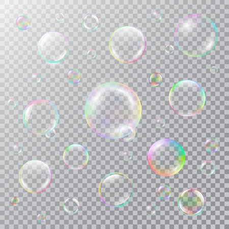 Realistic soap bubbles with rainbow reflection Illustration