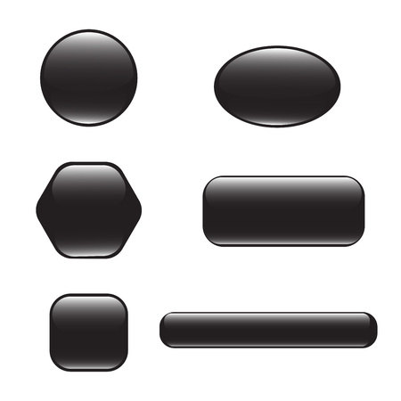 Set of black square and rounded button. Vector button banner round, badge interface with glare for application. Illustration on white background