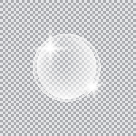 Transparent glass sphere with glares and highlights. Vector illustration with transparencies, gradient and effects. Realistic glossy orb, water soap bubble, white pearl. Çizim