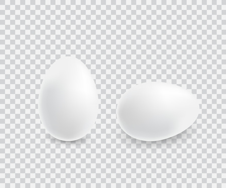 Two realistic white eggs. Stock Vector - 110603981