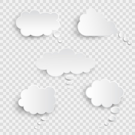 White blank speech bubbles isolated vector set. Infographic design thought bubble on the transparent background. Eps 10 vector file. Çizim