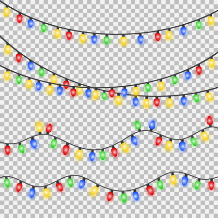 Set of Xmas colorful glowing garland. Christmas lights isolated on transparent background.