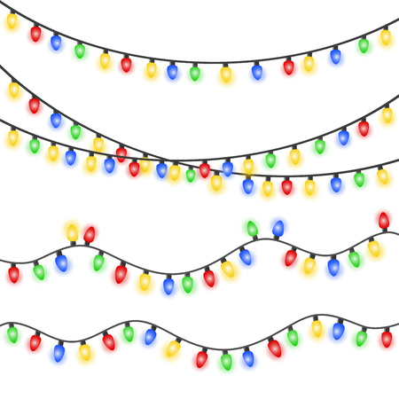 Set of Xmas colorful glowing garland. Christmas lights isolated on white background. Stok Fotoğraf