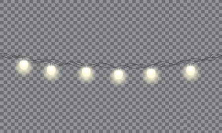 Set of Xmas glowing garland. Christmas lights isolated on transparent background.