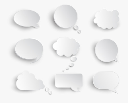 White blank speech bubbles   on the white background.