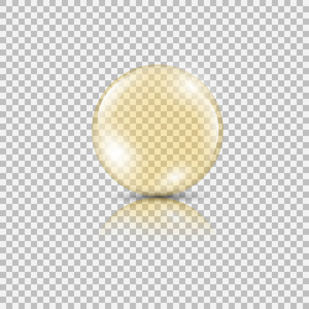 Bright gold drop of oil essence. Vector illustration isolated on transparent background. Shining droplet of serum, honey, collagen