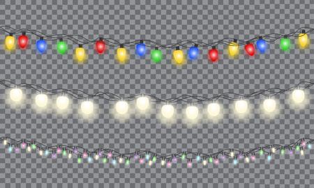 Set di ghirlanda incandescente colorata di Natale. Luci di Natale isolate su sfondo trasparente. Illustrazione vettoriale EPS 10