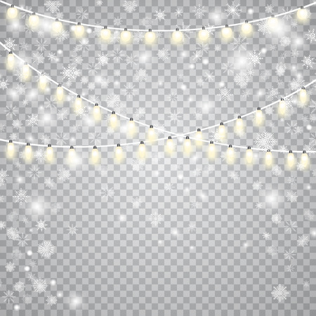 Beautiful snowflake and garlands decoration effect. Illustration