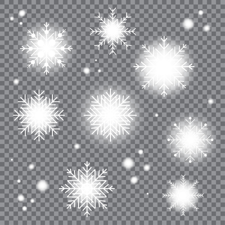 Beautiful bright winter Christmas snowflakes. Xmas snow flake decoration effect. Magic shining texture Çizim