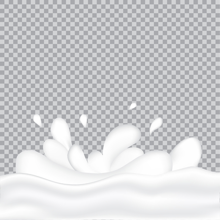 Realistic milk splash and pouring. Vector illustration of realistic natural dairy products. Liquid creamy white texture.