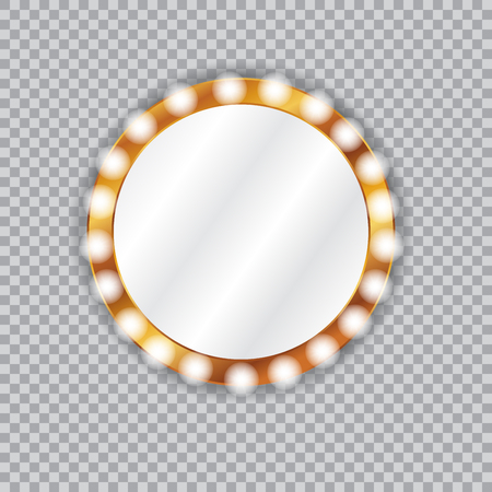 Round vanity mirror with light bulbs Çizim
