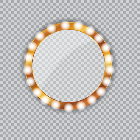 Round vanity mirror with light bulbs Illustration