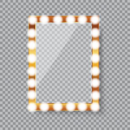 Rectangle vanity mirror with light bulbs Illustration