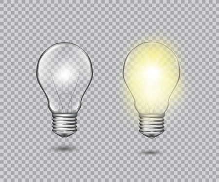 Set of realistic transparent light bulbs