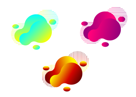 Set of modern liquid abstract element graphic design