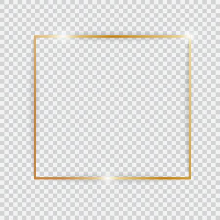 Gold shiny glowing vintage frame.