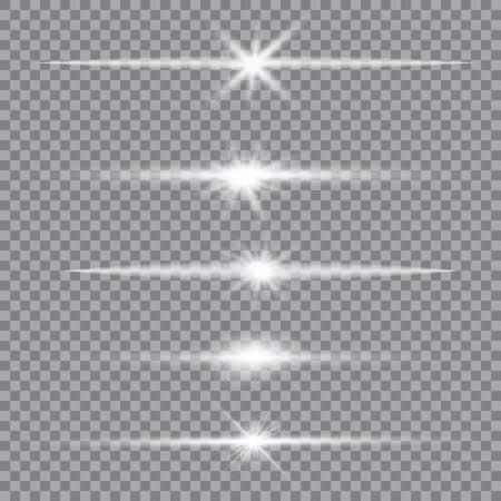Set vettoriale di illuminazione abbagliante, bagliori di lenti scintillanti. Stelle sfumate trasparenti, bagliore di fulmini. Effetti magici, luminosi, naturali. Texture astratta per il tuo design e il tuo business.